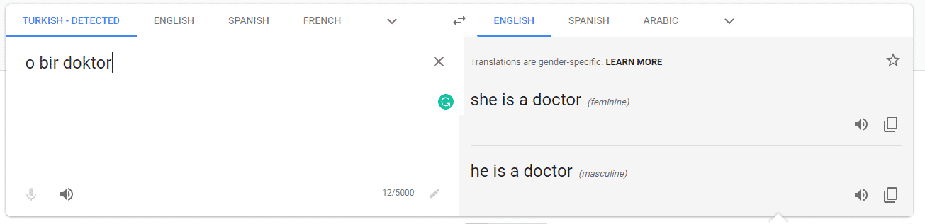 Screenshot of Google translate showing how they now provide translations with options for both genders