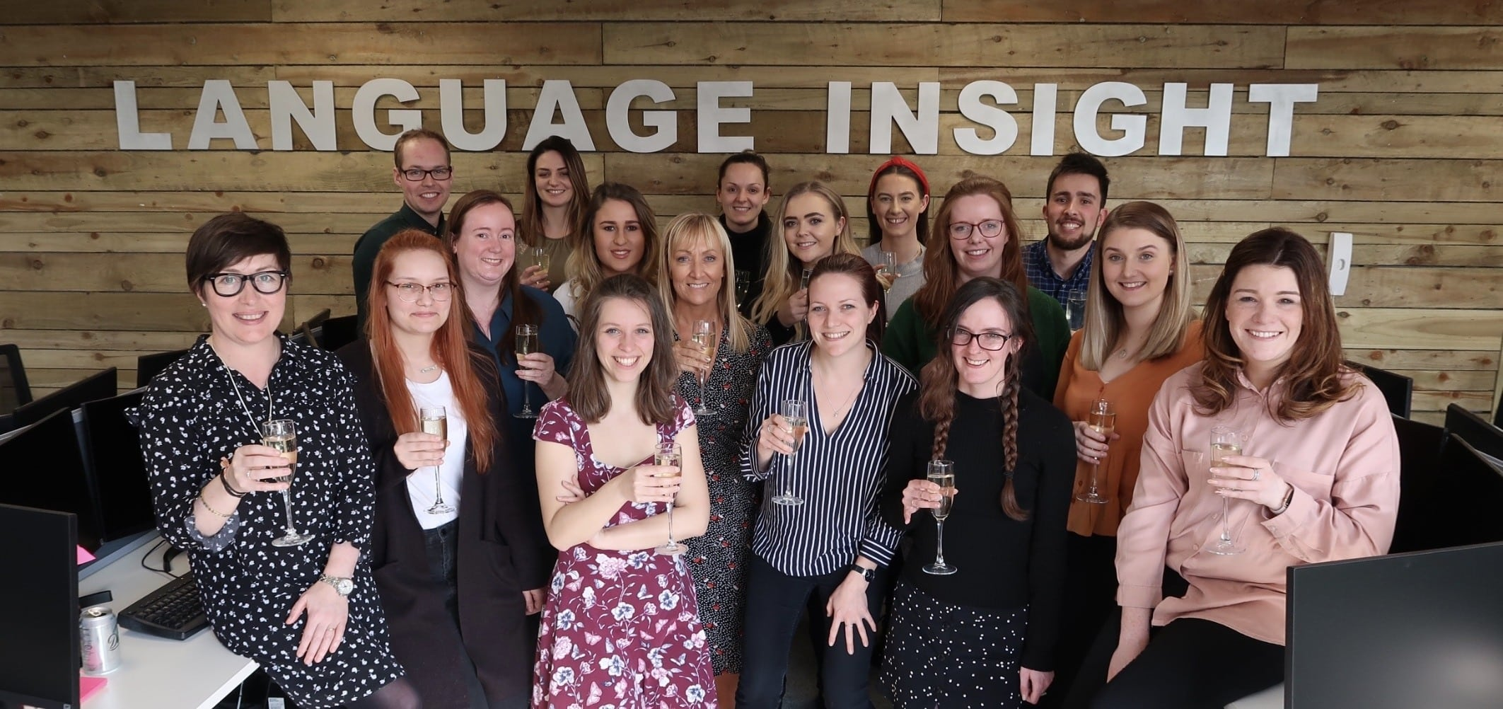 Language Insight team celebrating Language Insight's win of The Queen's Award 2019